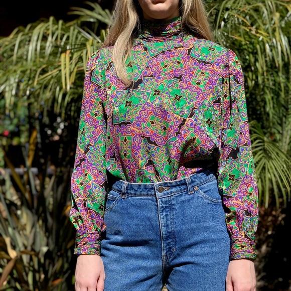 Silk Animal Print Long Sleeved Blouse Sz6 Vintage Ladies Adrianna Papell